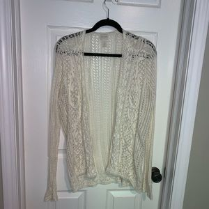 Chico's cream lacy/knit cardigan size 1